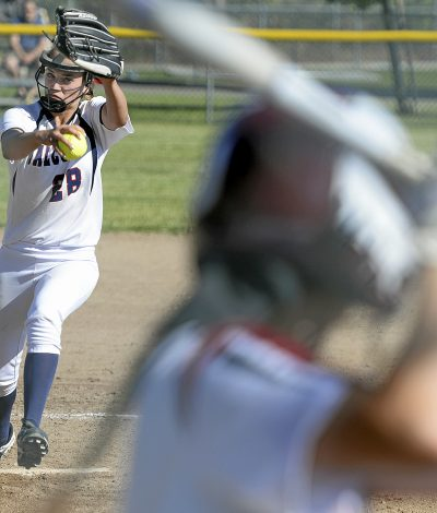 Vacaville Christian's Taylor Hummel fires a pitch during the fourth inning of the Falcons 12-4 victory over Buckingham Charter Magnet High School during the first round of the 2018 CIF Sac Joaqin Section Division IV Championships Monday at Vaca Christian.  Joel Rosenbaum -- The Reporter